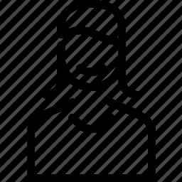 avatar, female, human, profile, smile, user, woman icon