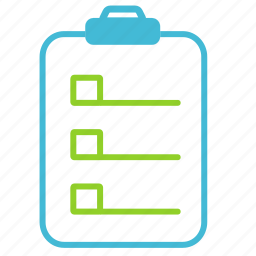 checklist, checkmark, clipboard, document icon