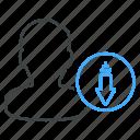 arrow, down, download, person icon