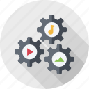 content share, engine, equipment, gears, mechanism icon