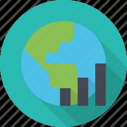 business, earth, finance, globe, graph, market, stock, world icon