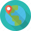 globe, indicator, location, map, place, point, travel, world icon