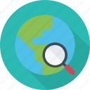 find, geography, global, globe, magnifier, research, search, travel icon