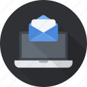 correspondence, email, envelope, laptop, letter, mail, send icon