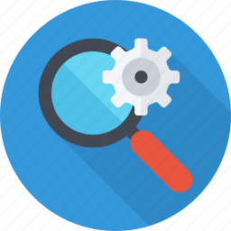 engine, gear, information, intelligent, magnifying, search icon
