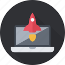 business, enterpreneur, launch, project, rocket, start, up icon