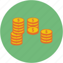 business, coin, coins, dollar, euro, payment, stack icon