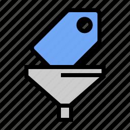 keyword filtering, marketing, seo, tag filtering, term filtering icon