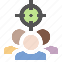 marketing, seo, social, target audience icon