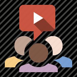 marketing, seo, social, video sharing, viral video icon