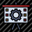 board, gear, presentation, process icon