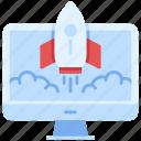 computer, rocket, startup