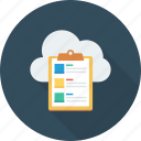 bullets, clipboard, cloud, list, shopping icon