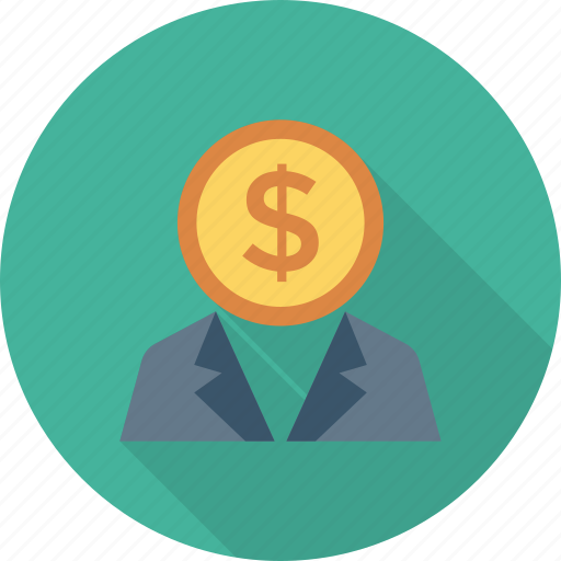 businessman, buyer, coin, currency, money, seller, user icon
