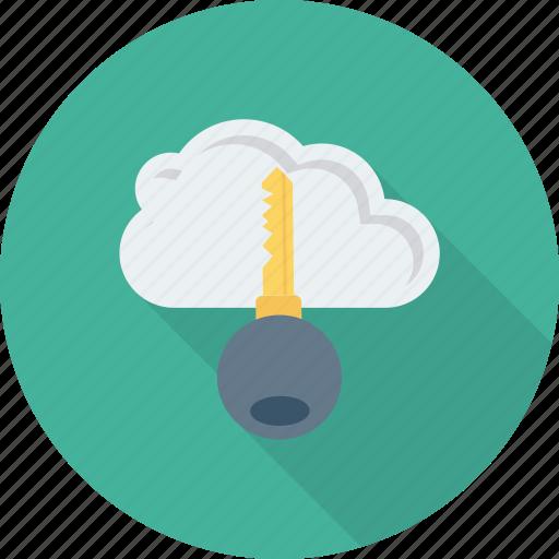 cloud, internet, key, keyword, lock, network icon