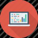 coding, development, graph, laptop, programming icon