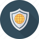 global, globe, security, with icon