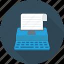 keyboard, paper, type, writer