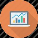 analytics, laptop, computer, graph