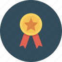 award, badge, ribbon, star icon