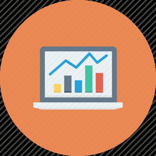 analytics, computer, graph, laptop icon