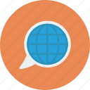 bubble, chat, global, globe, message icon