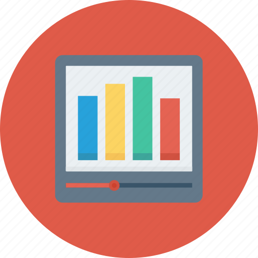 chart, device, graph, presentation, video icon