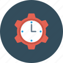 clock, cog, management, schedule, time icon