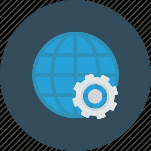 Cog, cogwheel, global, globe, internet, setting icon - Download on Iconfinder