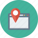 directions, internet, location, pin, web icon