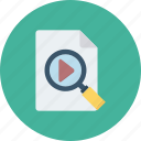 magnifying, search, video icon