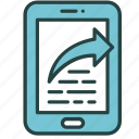 arrow, content, file, mobile, send, share, smartphone icon