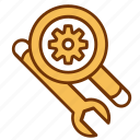 equipment, magnifier, optimization, seo, service, tools, wrench icon