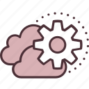 cloud, content, data, gear, management, storage, technology icon