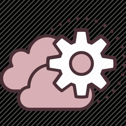 cloud, content, data, gear, management, storage, technology icon