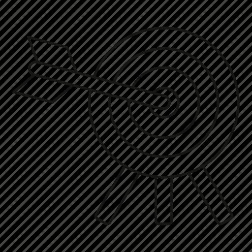 arrow, center, dart, dartboard, line, outline, target icon