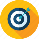 business, flat design, long shadow, marketing, strategy, target, targeting icon