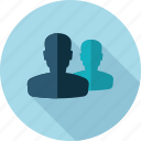 community, flat design, group, long shadow, people, profile, team icon