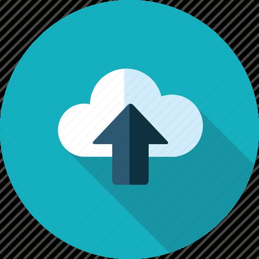 cloud, data, flat design, internet, long shadow, upload icon