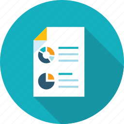 analytics, business, chart, document, flat design, plan, research icon