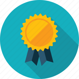 award, badge, flat design, long shadow, recommendation, success icon
