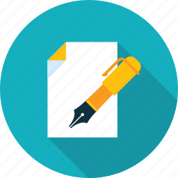 blogging, business, contract, copywriting, flat design, long shadow, text icon