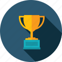 success, business, cup, award, solutions, long shadow icon