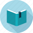 book, case, content, long shadow, study icon