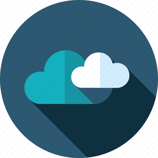app, cloud, computing, data, flat design, long shadow, storage icon