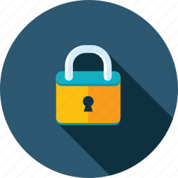 confidential, flat design, information, long shadow, padlock, protection, security icon