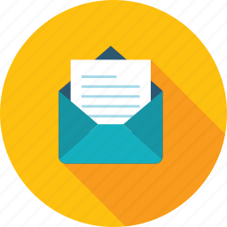 email, flat design, long shadow, marketing, message, sms, social media icon