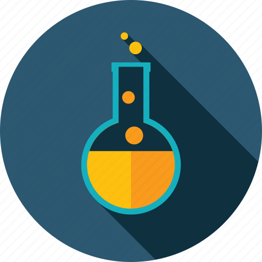 chemistry, flat design, laboratory, long shadow, market, research, science icon