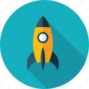 development, discover, explore, flat design, launch, mission, rocket icon
