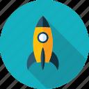 development, discover, explore, launch, mission, rocket icon